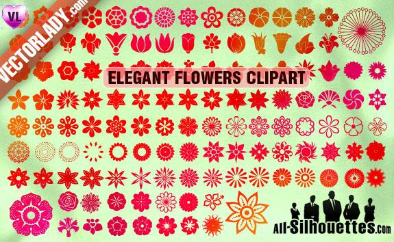 124 Elegant Flowers Clipart