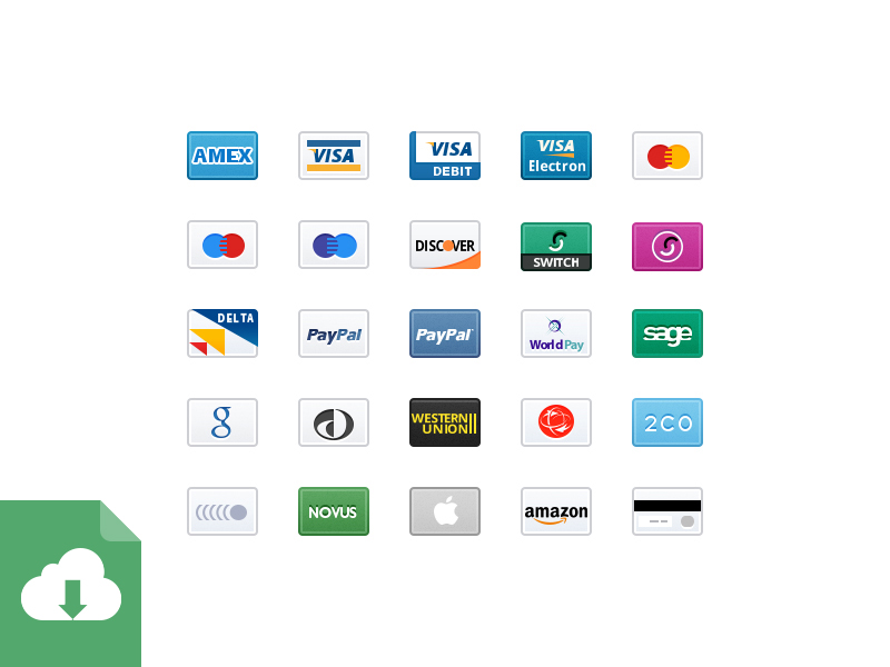 32px Credit Card Icons from Medialoot