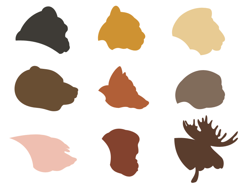 9 Animal Silhouette Vector Shapes