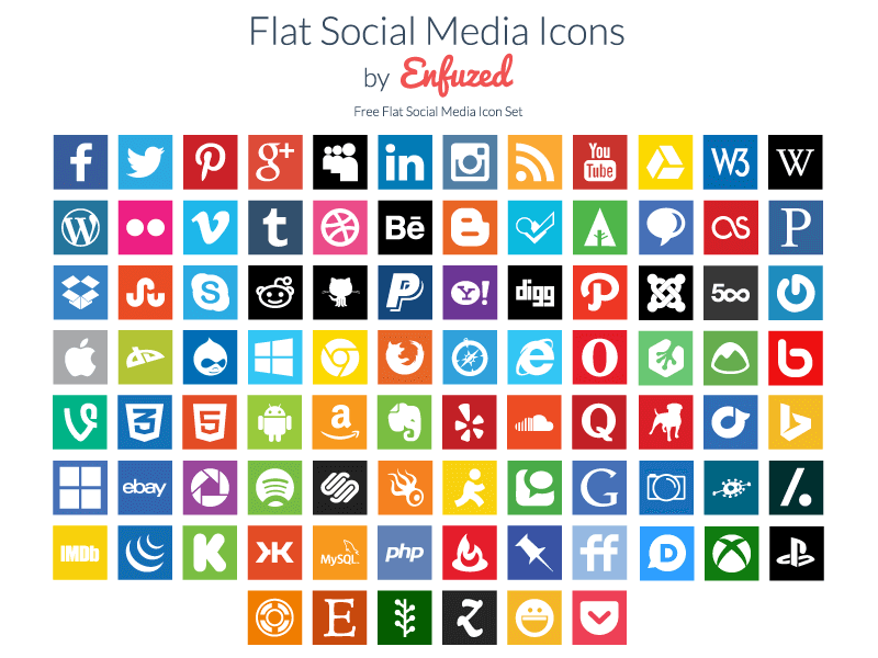 90 Free Flat Social Media Icons by Zac