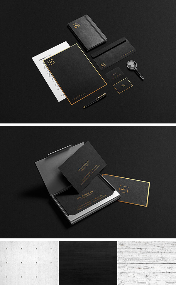 Black And Gold Stationery MockUp