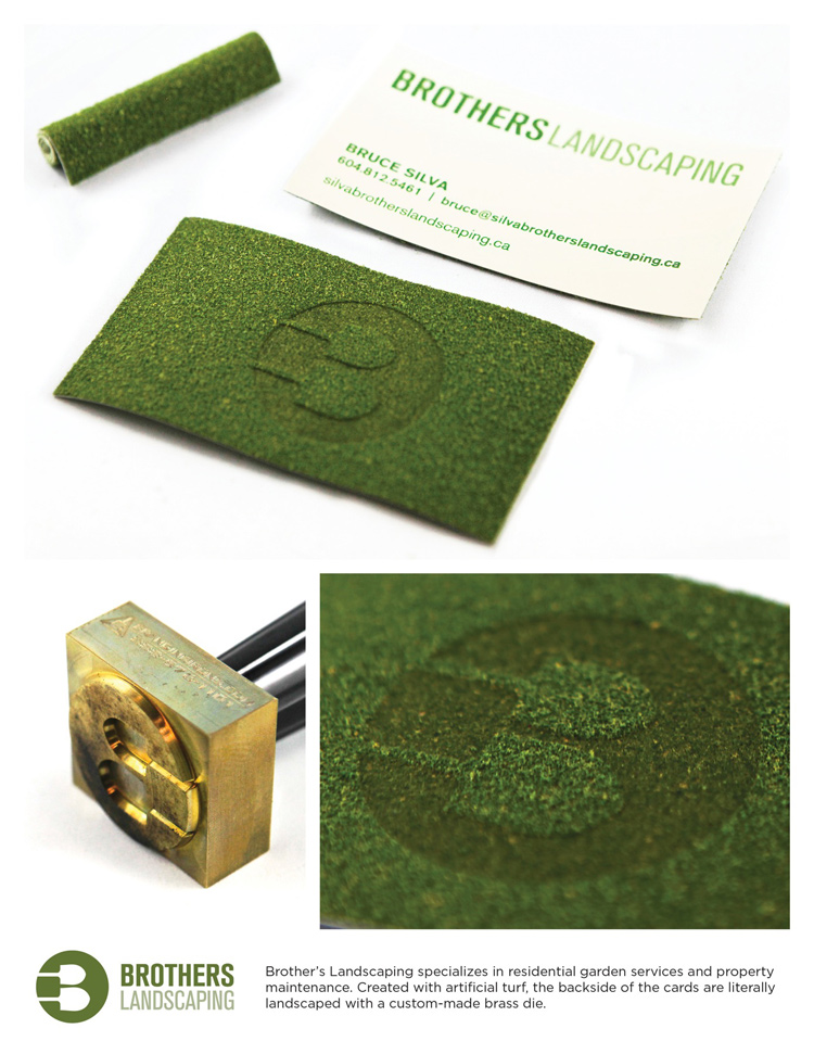 Brothers Landscaping's turf business cards.