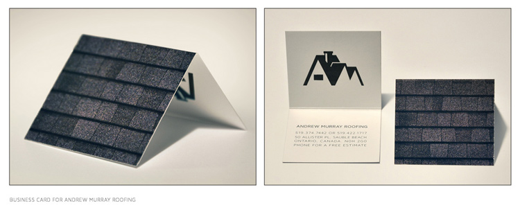 Business card for a roofing company.