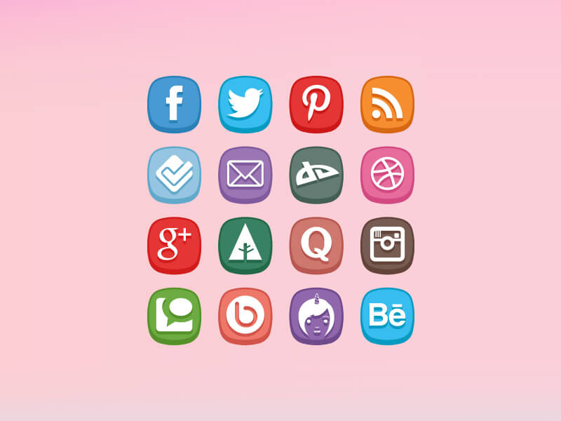 Cute Social Media Icons by Zee Que