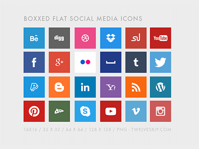 Free Flat Social Media Icons by Pauline C.