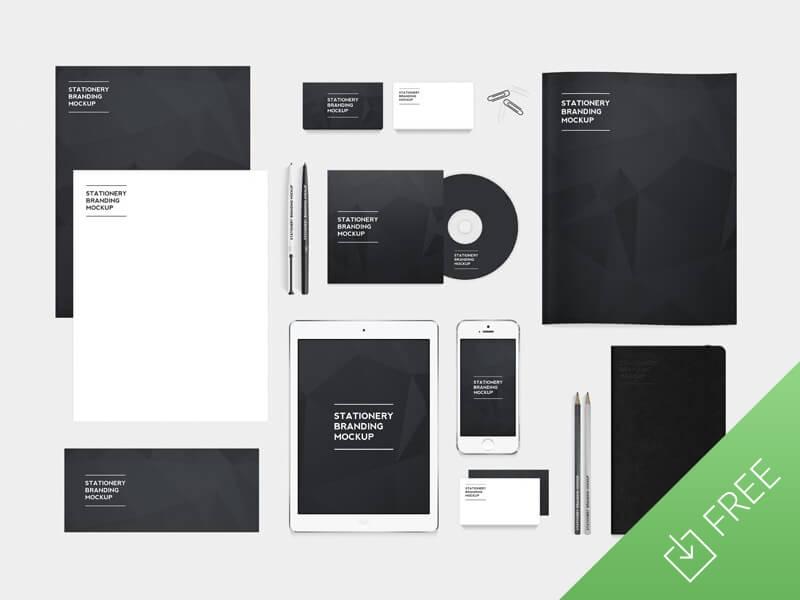 Free stationery branding mockup pack by Medialoot