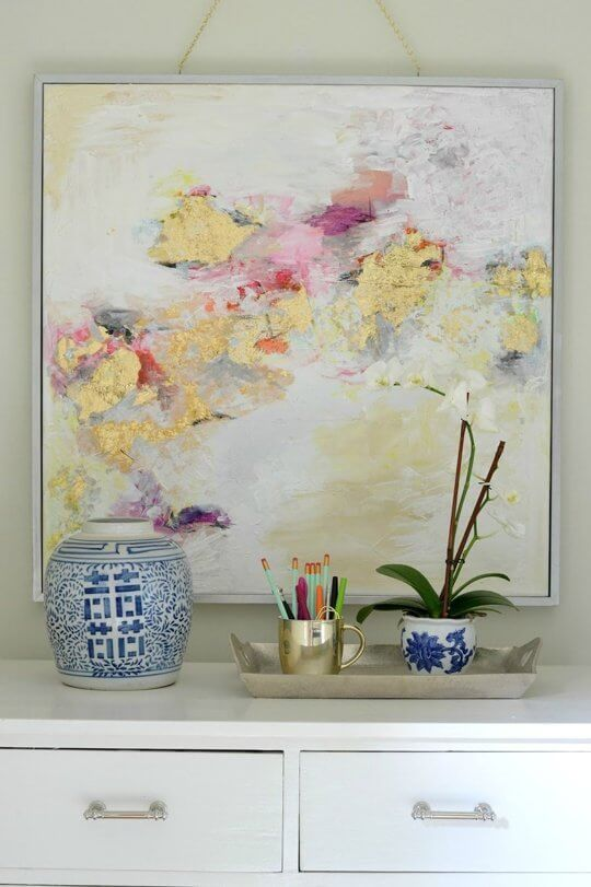 Gold leaf painting from Live Love DIY