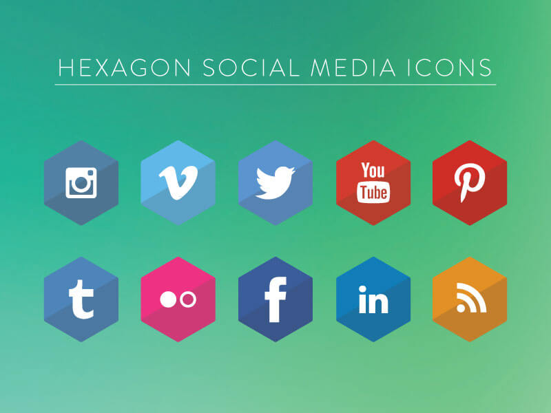 Hexagon Social Media Icons by Brayden M Love