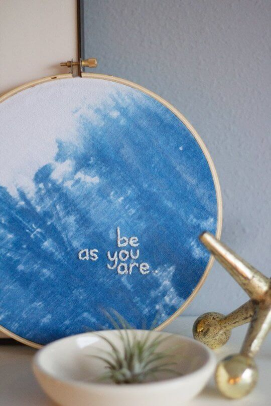 Indigo-dyed embroidery from Lovely Indeed