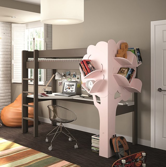 Kids High Sleeper Bed with Desk and Tree Bookcase