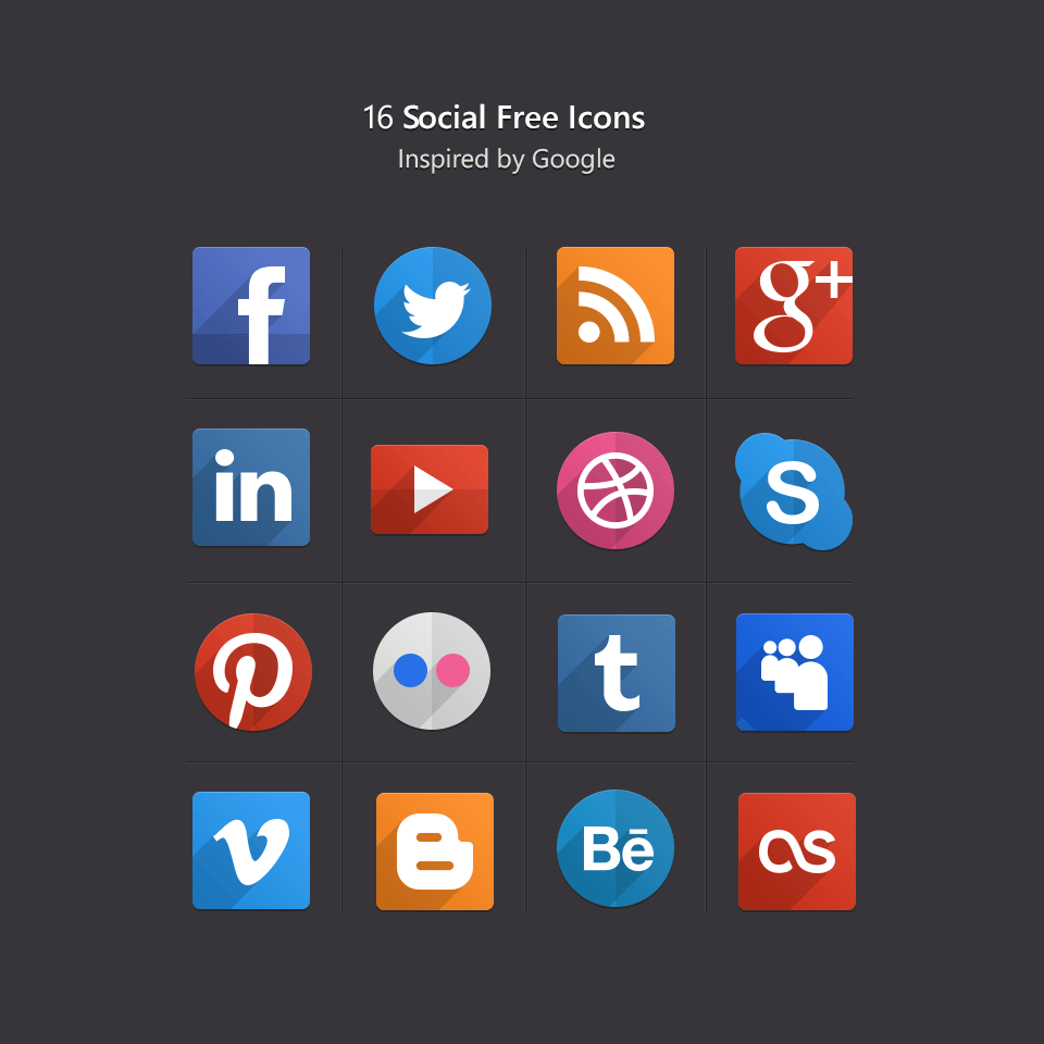 PSD Flat Social Icons by Pixeden.com