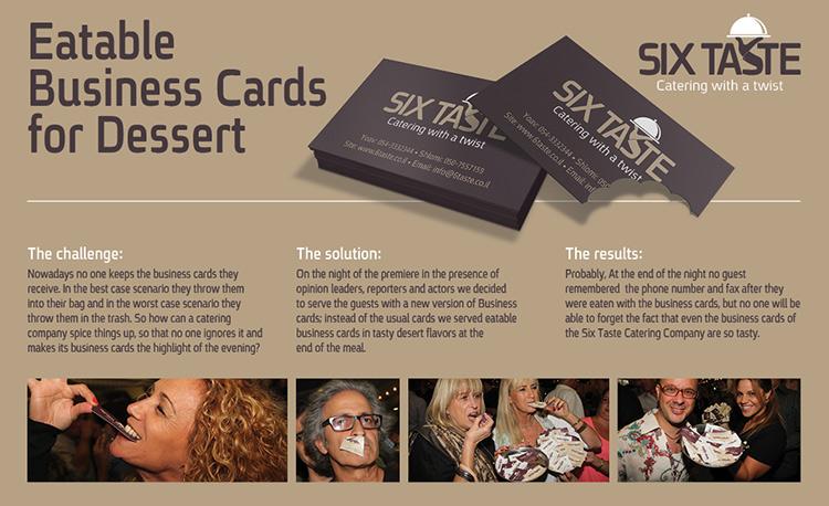 Six Taste's edible business cards