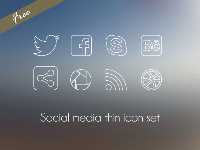 Social Media thin icon set by Marta Rodriguez
