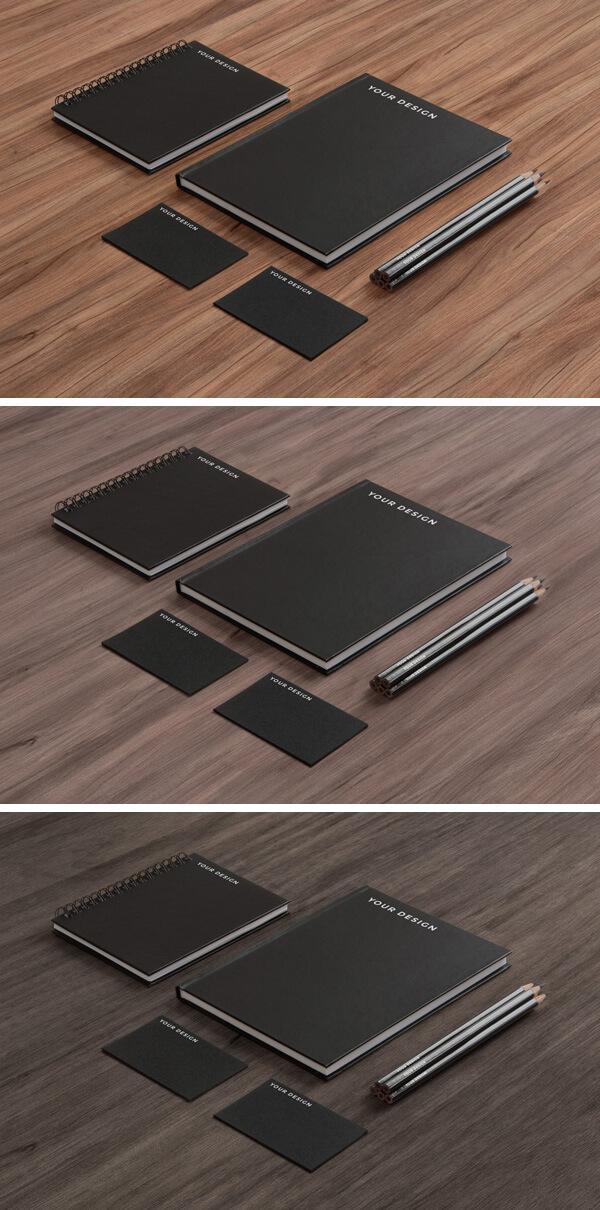 Stationery MockUp – Black Paper on Wood