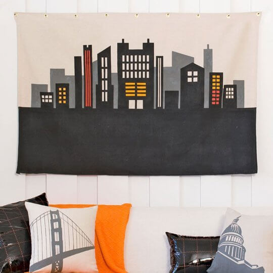 Stenciled canvas wall art from Lowes