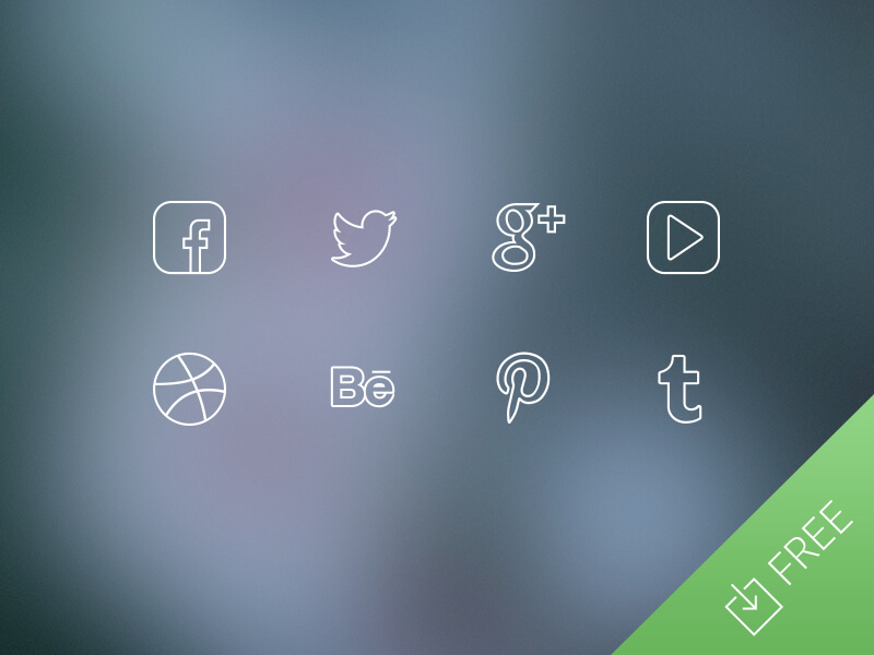 Ultra Thin Social Media Icons by Medialoot