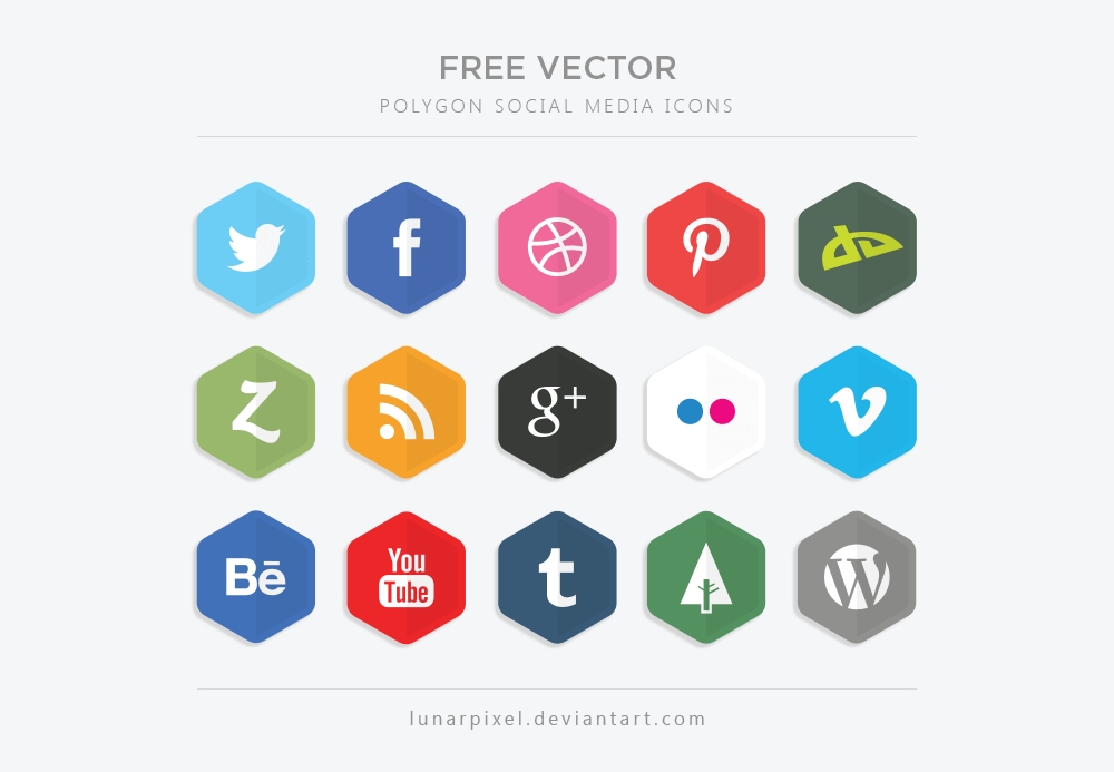 Vector Polygon Social Media Icons by LunarPixel