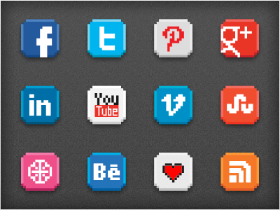-bit social icon pack by Patrick Jones