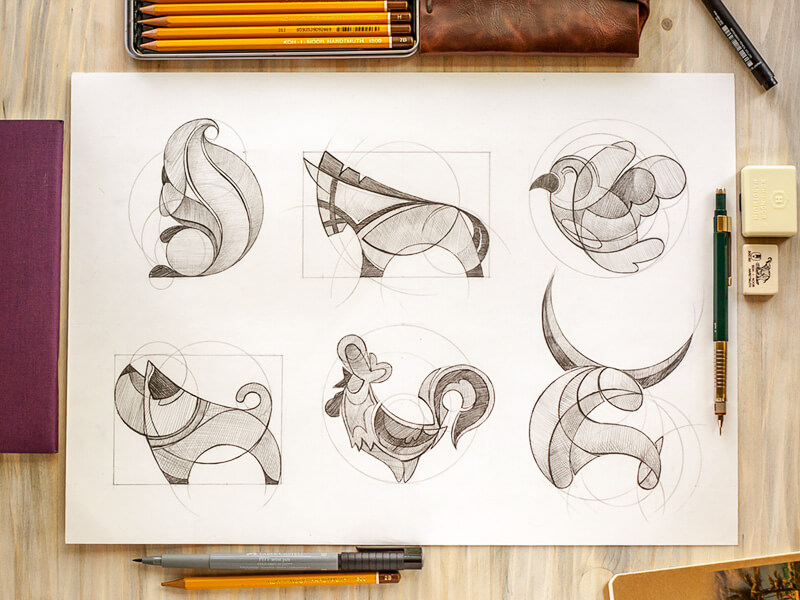 Animal logo sketches by Inkration