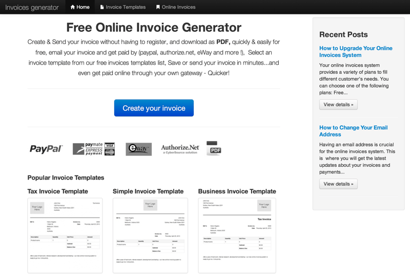 Create Invoice Online for Free & Download PDF (20150818)