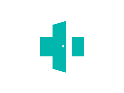Open door, medical cross logo by Jan Zabransky