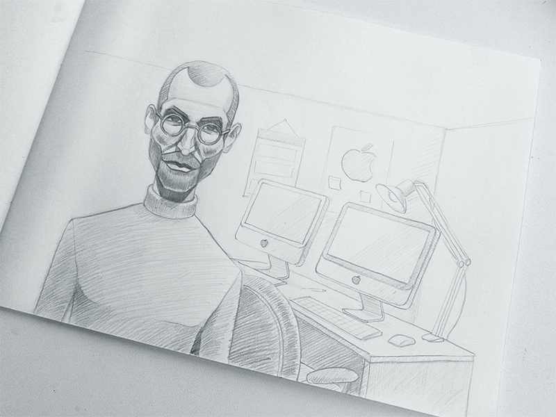 Steve Jobs sketch by Zaib Ali