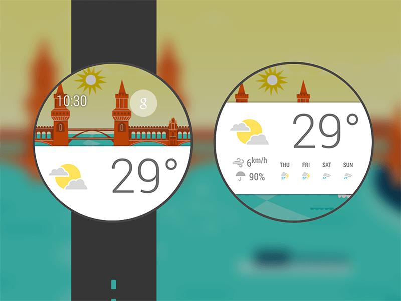 Android Wear's weather card by Abhinav Chhikara