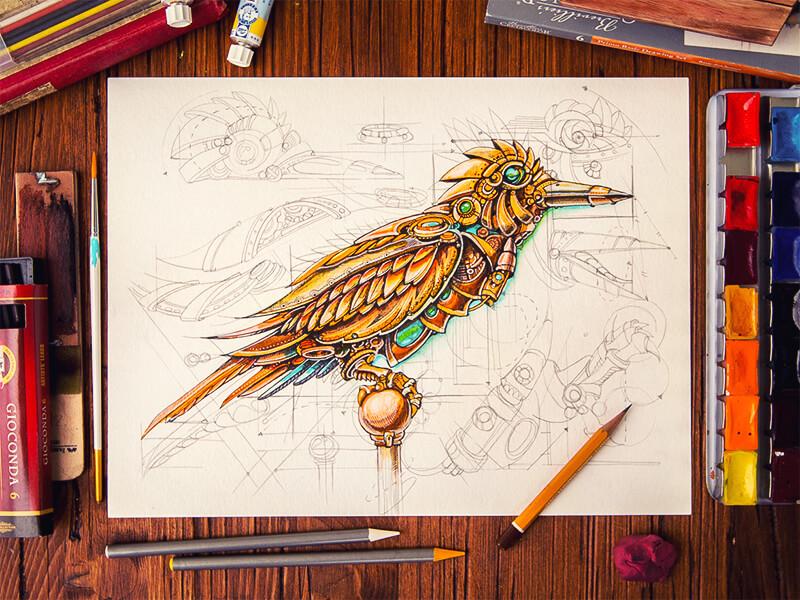 Steampunk Bird by Mike