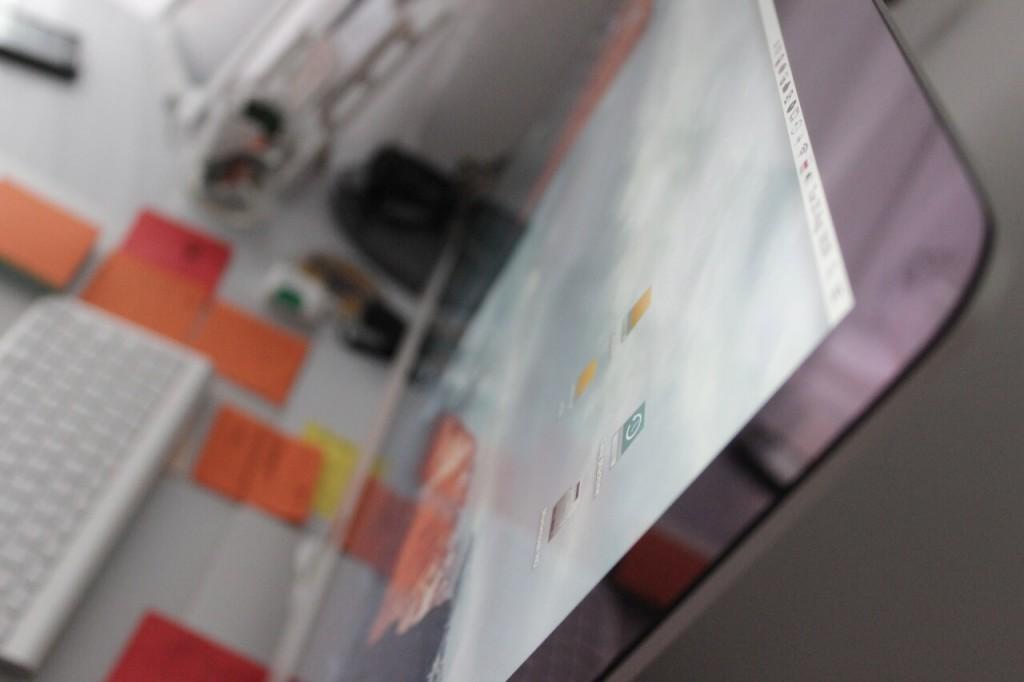 Close up shot of a desktop computer.