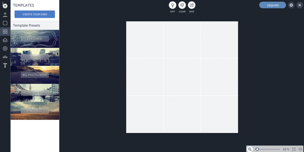 Website Screenshot of Befunky Collage Maker Dashboard.