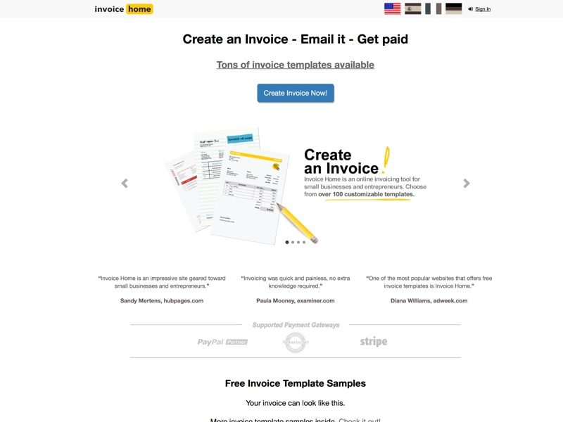 Create and download professional PDF invoices in seconds with the invoice template gallery, send invoices via email, get paid by card