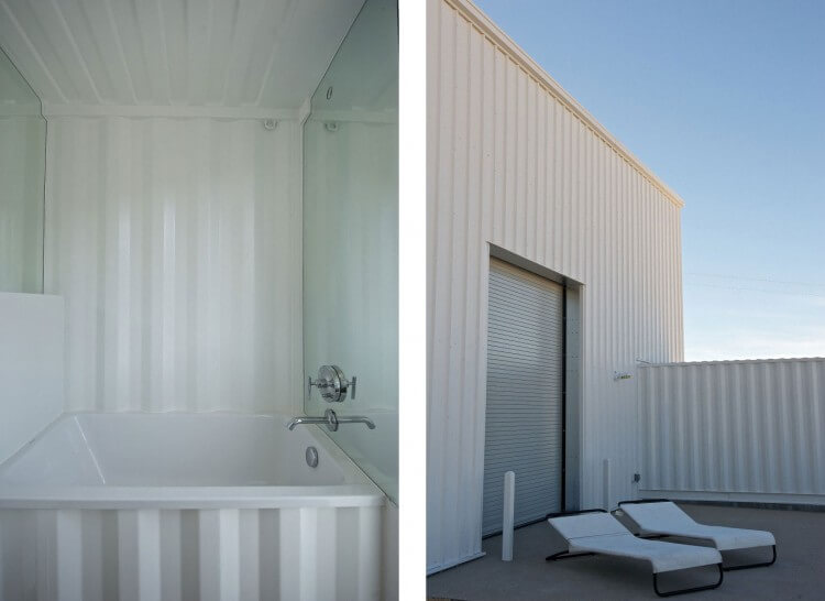 Shipping container home in the mojave desert