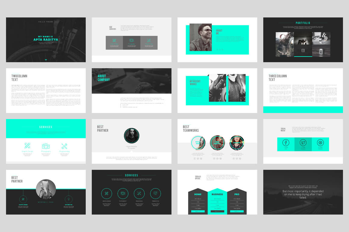 20 outstanding professional powerpoint templates for Graphic designer portfolio template free download