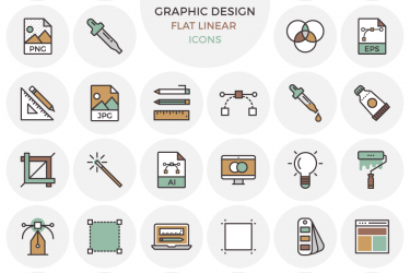 33 Flat Graphic Design Icons