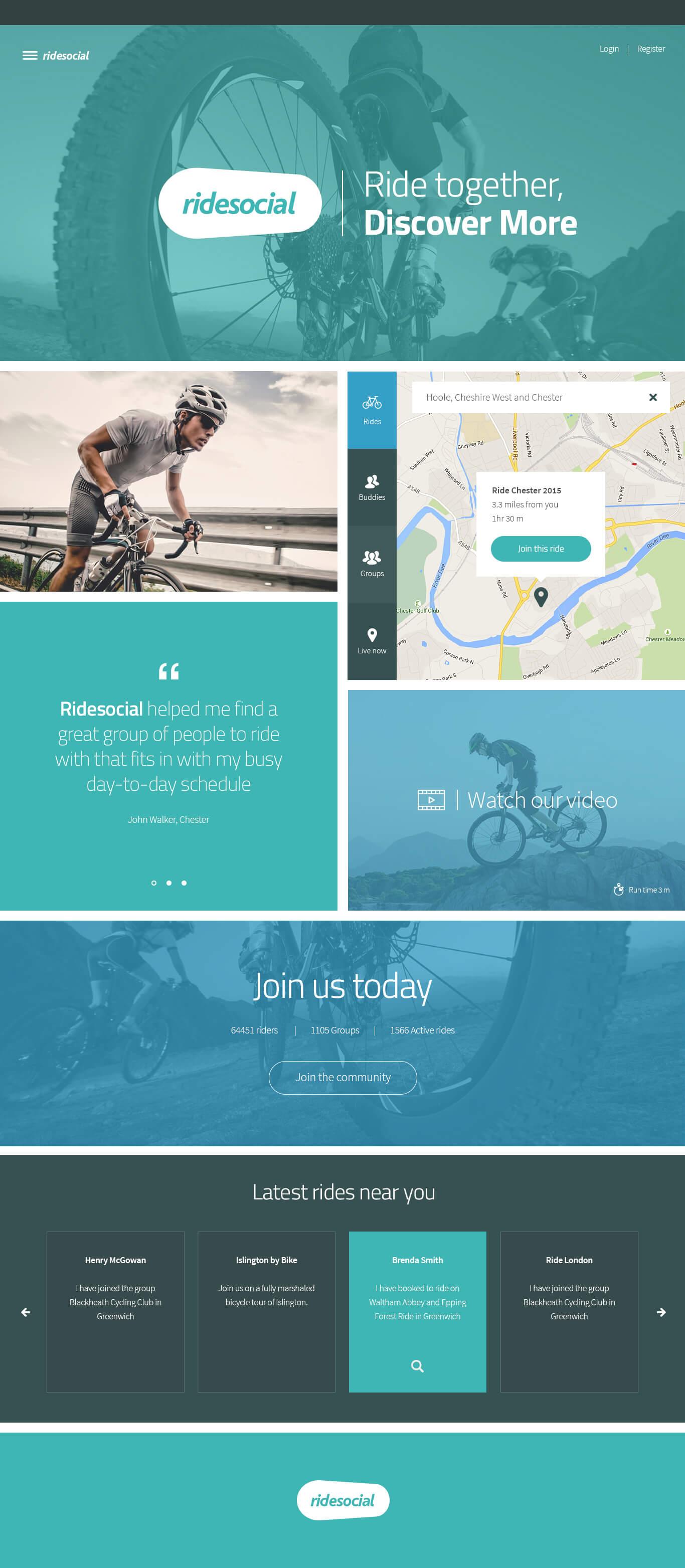 Ride Social Cycling Landing page concept by Simon Deighton