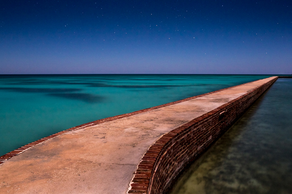 The mote wall around fort jefferson on the Garden Kay, off the coast of Key West, Florida.