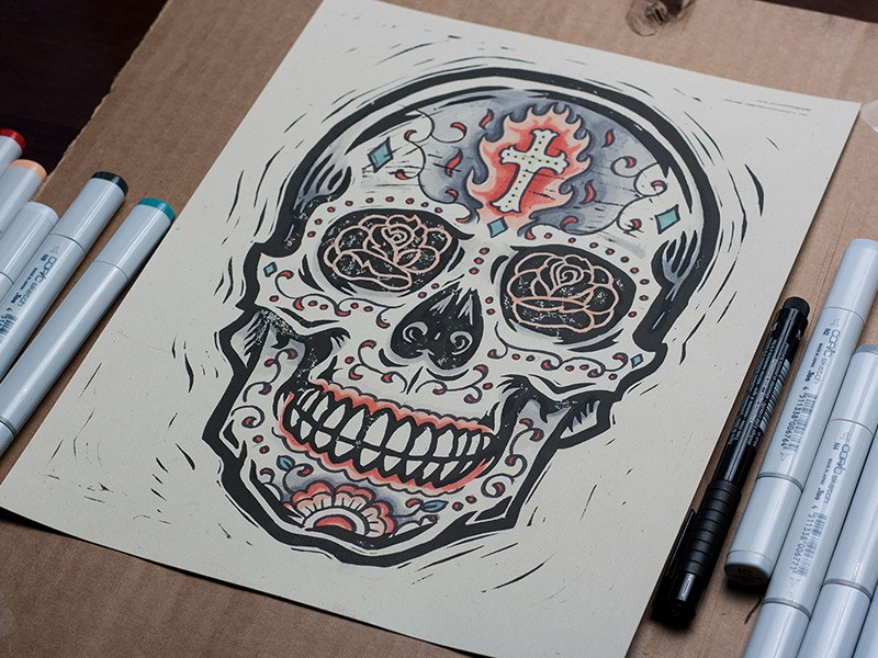 Burning Sugar Skull by Derrick Castle (1)