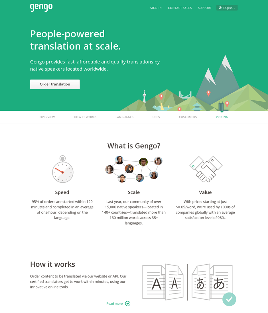 Gengo Product Landing Page
