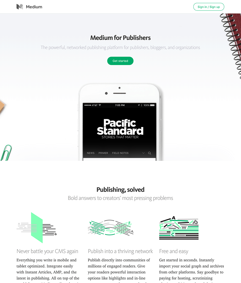 Medium for Publishers Product Landing Page