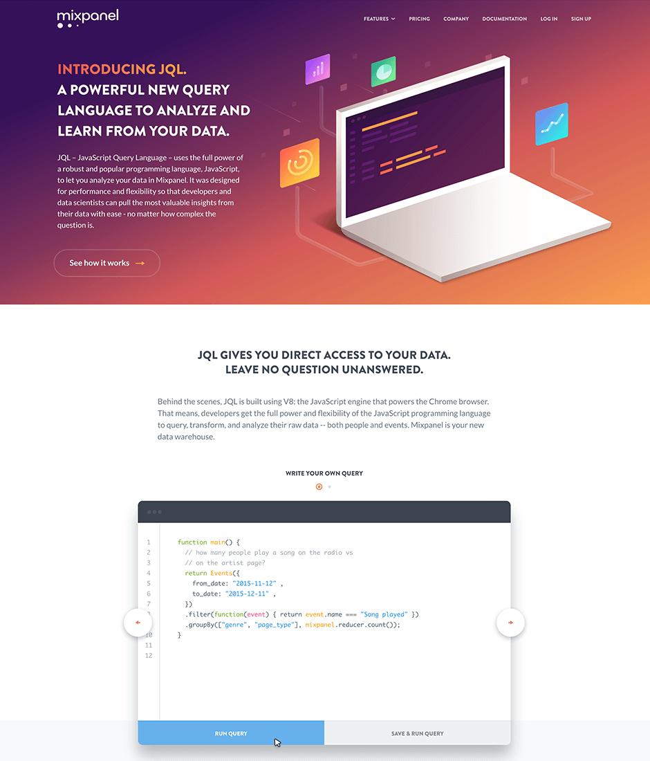 Mixpanel Product Landing Page