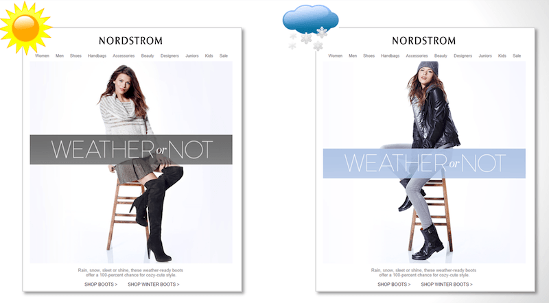 Nordstrom Email sample in which content changes as per location and according weather - 9