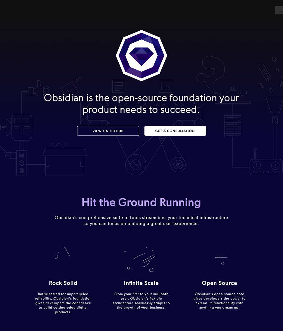 Obsidian Product Landing Page