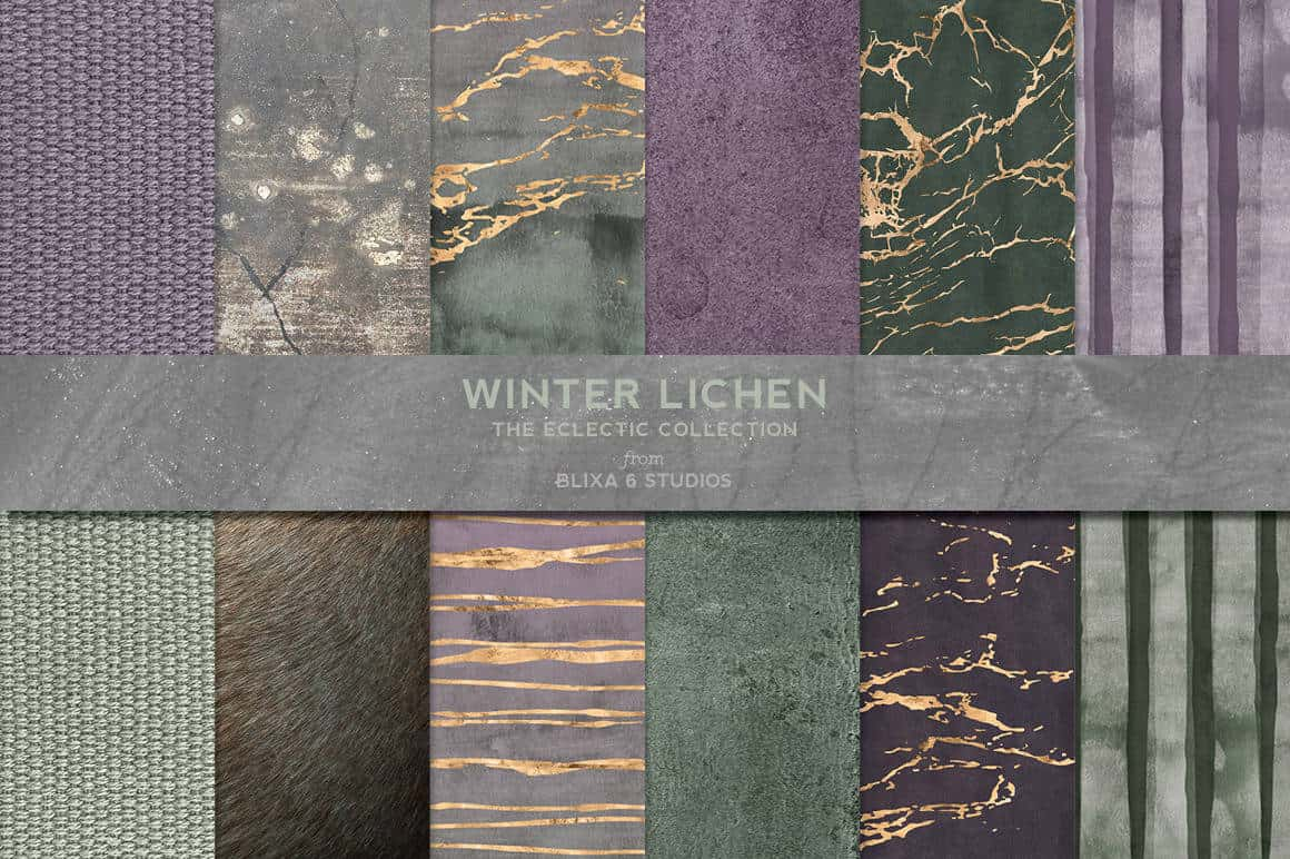 Winter Lichen Watercolor & Gold