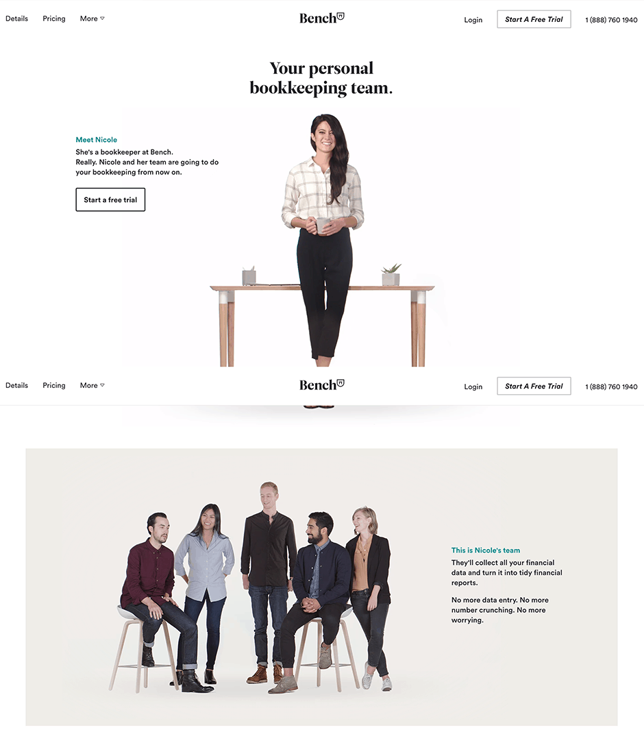 Bench Product Landing Page