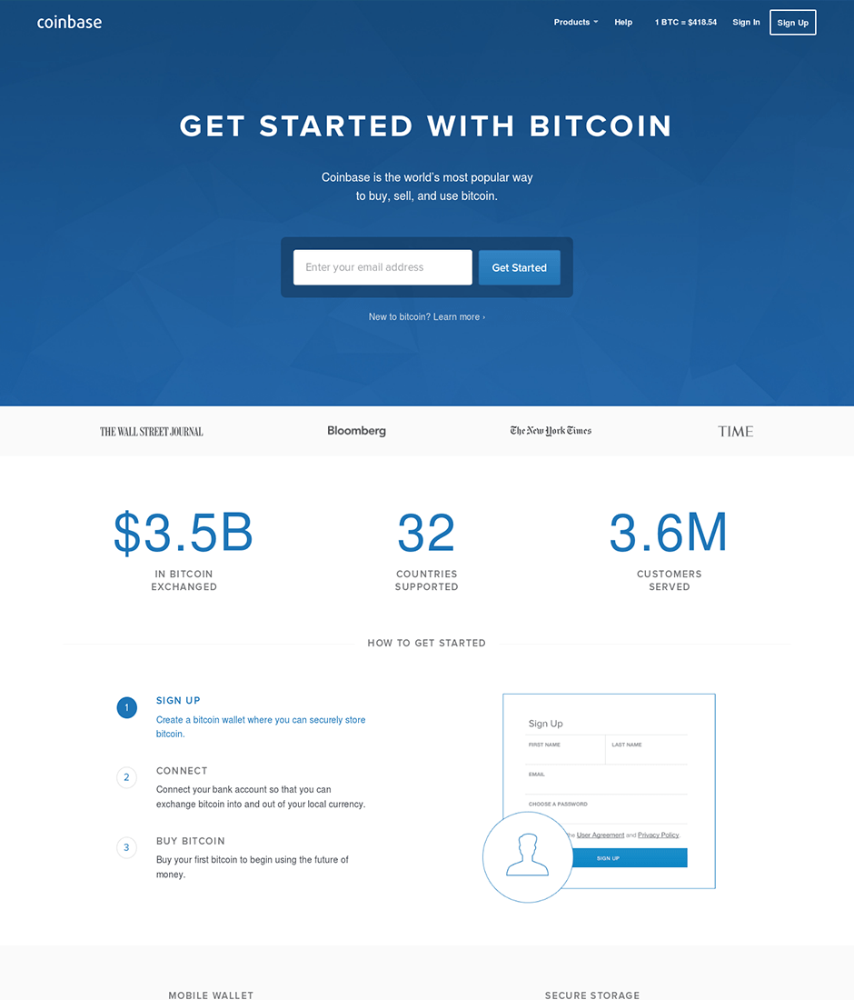 Coinbase Product Landing Page