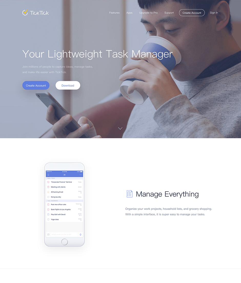 Ticktick Product Landing Page