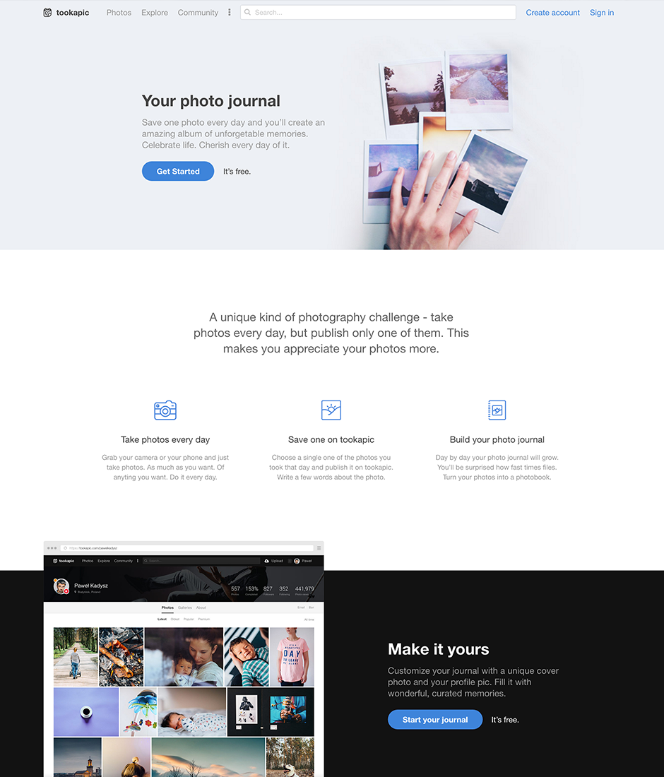 Tookapic Product Landing Page