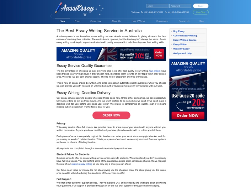Aussiessay.com offers the best essay writing service at the lowest prices. Get academic writing help with our Aussie essay writing services today.