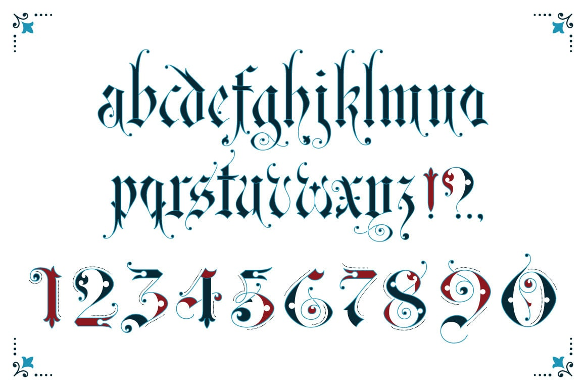 Gothic ornamental alphabet-min