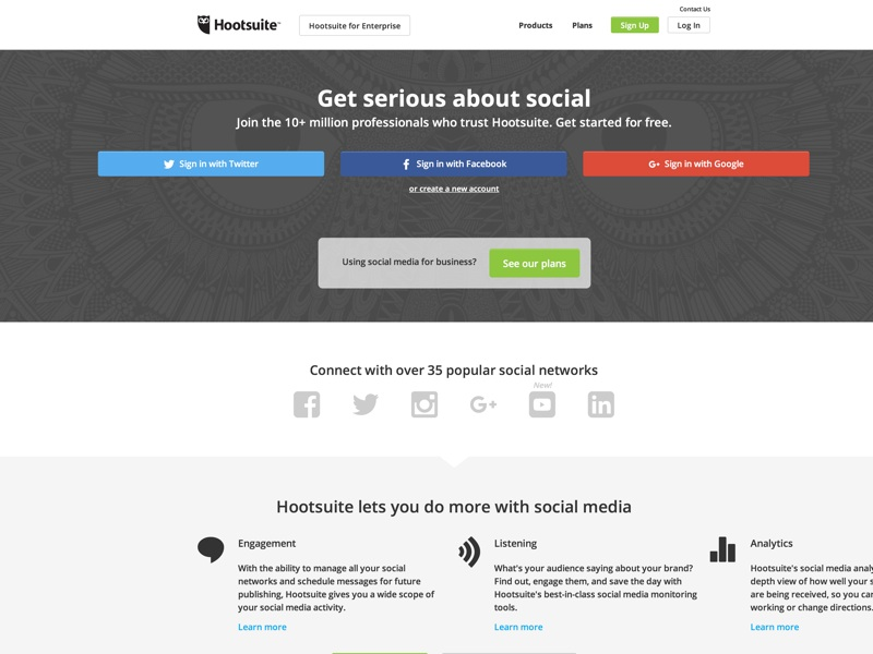 Enhance your social media management with Hootsuite, the leading social media dashboard. Manage multiple networks and profiles and measure your campaign results.